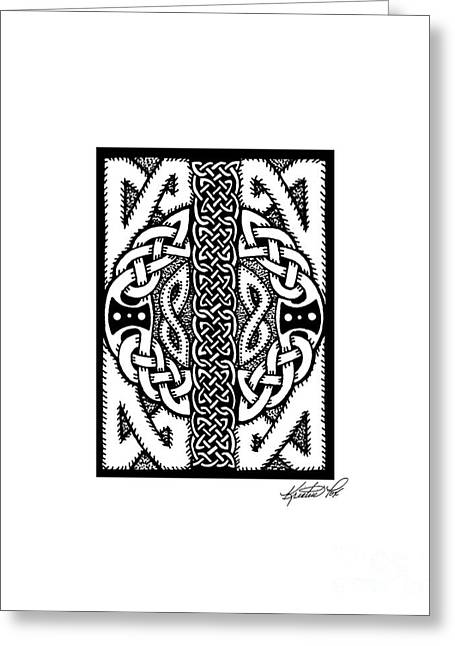 Miniature Abstract Drawings Greeting Cards - Celtic Double Doors Greeting Card by Kristen Fox