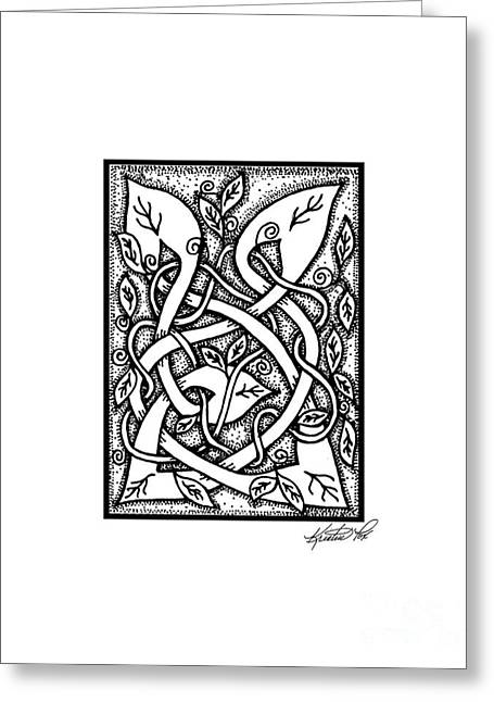 Aceo Original Drawings Greeting Cards - Celtic Entwined Vines Greeting Card by Kristen Fox
