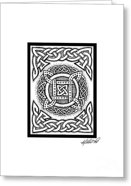 Miniature Abstract Drawings Greeting Cards - Celtic Four Square Circle Greeting Card by Kristen Fox
