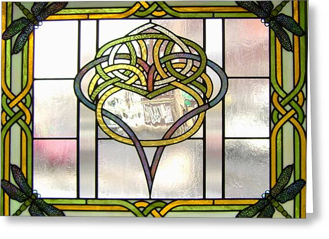 Dragonflies Glass Art Greeting Cards - Celtic Heart Greeting Card by Jane Croteau