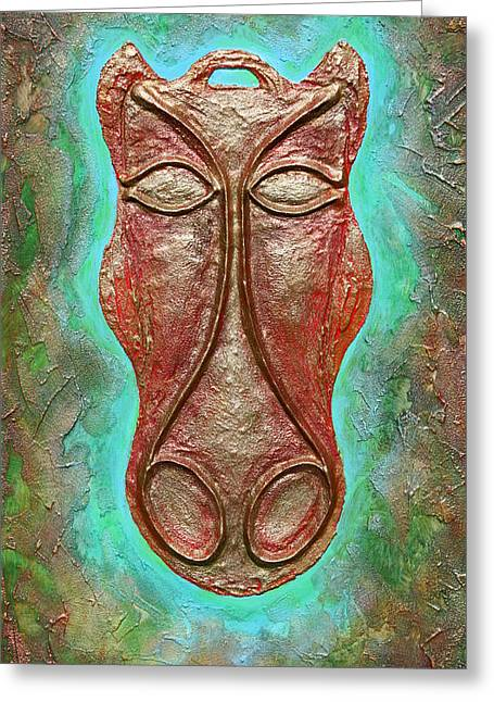 Ancient Reliefs Greeting Cards - Celtic Horse Head Mask Greeting Card by Zoran Peshich