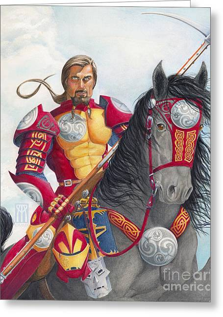 Ironman Mixed Media Greeting Cards - Celtic Iron Man Greeting Card by Melissa A Benson