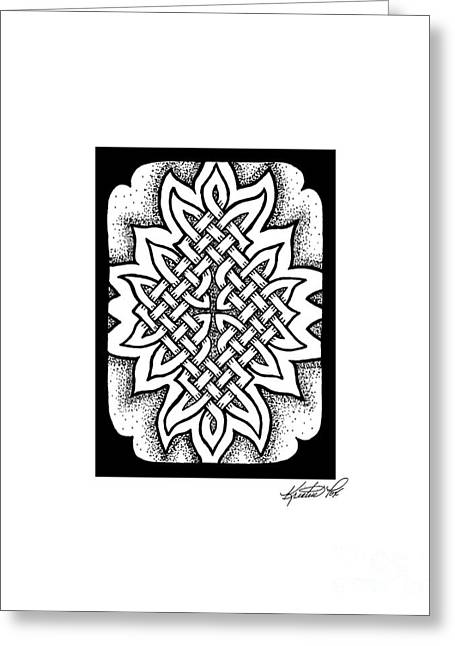 Miniature Abstract Drawings Greeting Cards - Celtic Knotwork Afire Greeting Card by Kristen Fox