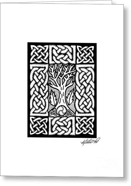 Miniature Abstract Drawings Greeting Cards - Celtic Knotwork Bare Branches Greeting Card by Kristen Fox