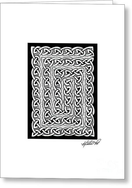 Miniature Abstract Drawings Greeting Cards - Celtic Knotwork Card Spiral Greeting Card by Kristen Fox