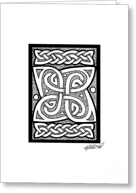 Miniature Abstract Drawings Greeting Cards - Celtic Knotwork Cloverleaf Greeting Card by Kristen Fox