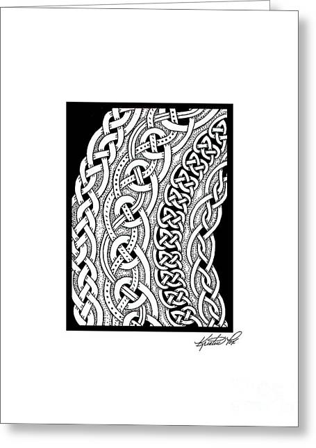 Miniature Abstract Drawings Greeting Cards - Celtic Knotwork Curves Greeting Card by Kristen Fox