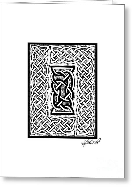 Miniature Abstract Drawings Greeting Cards - Celtic Knotwork Framing Greeting Card by Kristen Fox