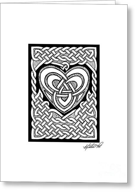 Miniature Abstract Drawings Greeting Cards - Celtic Knotwork Heart Greeting Card by Kristen Fox
