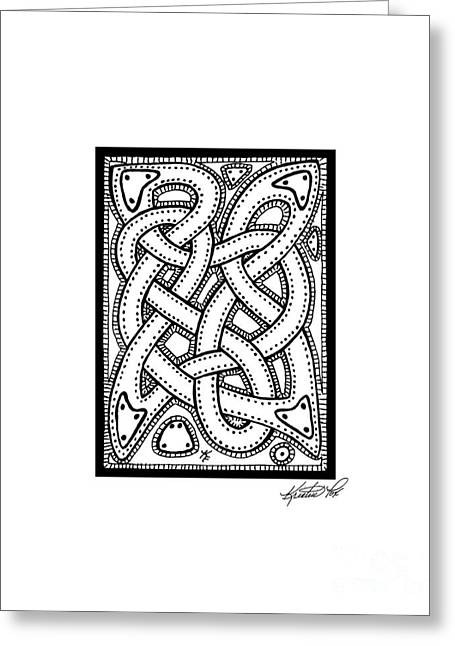 Miniature Abstract Drawings Greeting Cards - Celtic Knotwork Illustrated Greeting Card by Kristen Fox
