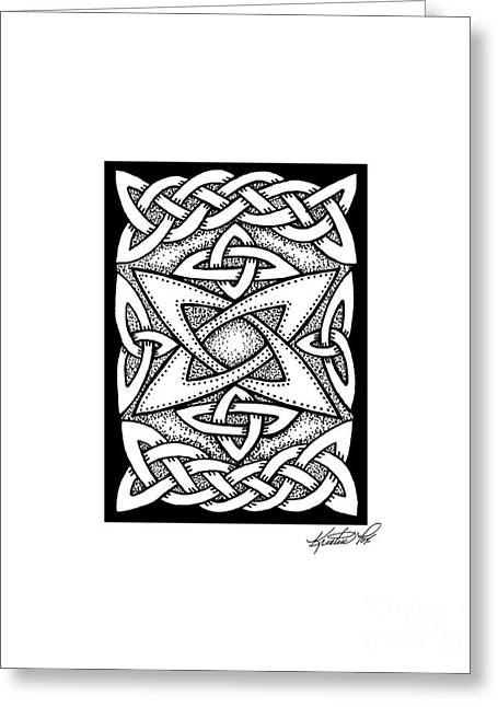 Miniature Abstract Drawings Greeting Cards - Celtic Knotwork Quasar Greeting Card by Kristen Fox