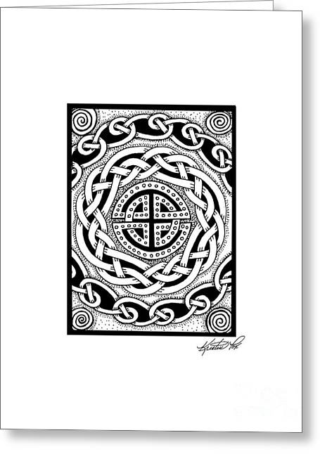 Miniature Abstract Drawings Greeting Cards - Celtic Knotwork Rondelle Greeting Card by Kristen Fox