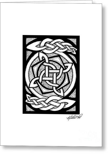 Miniature Abstract Drawings Greeting Cards - Celtic Knotwork Rotation Greeting Card by Kristen Fox