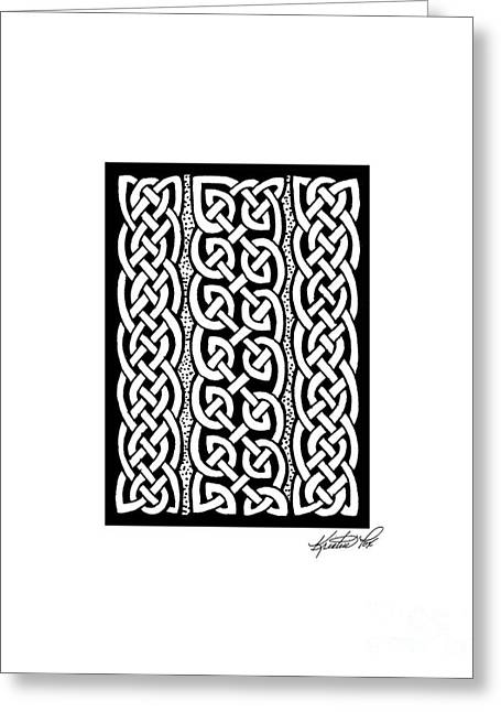 Miniature Abstract Drawings Greeting Cards - Celtic Knotwork Stripes Greeting Card by Kristen Fox