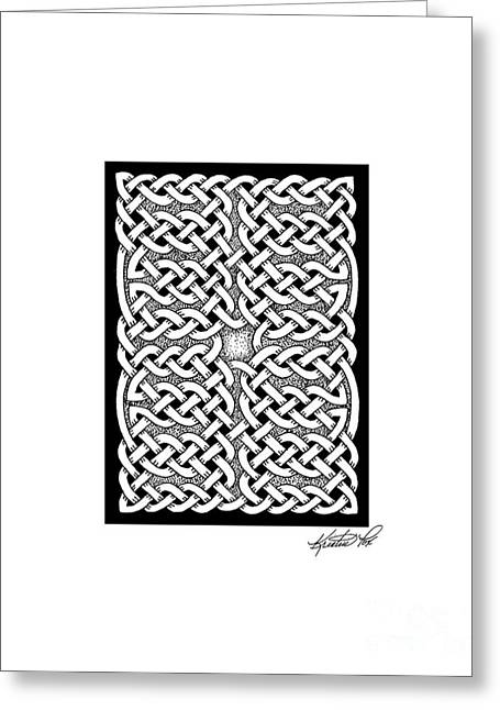 Miniature Abstract Drawings Greeting Cards - Celtic Knotwork Subdivision Greeting Card by Kristen Fox