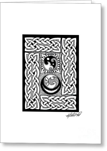 Miniature Abstract Drawings Greeting Cards - Celtic Knotwork Sun Moon Greeting Card by Kristen Fox