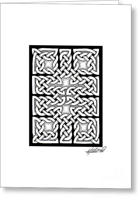 Miniature Abstract Drawings Greeting Cards - Celtic Knotwork Ten Rooms Greeting Card by Kristen Fox