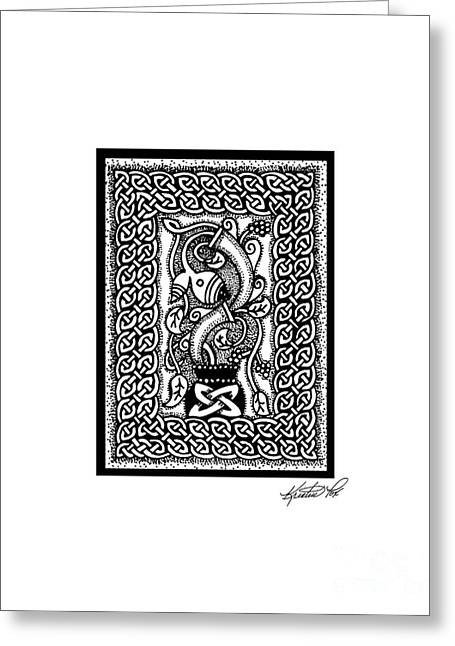Aceo Original Drawings Greeting Cards - Celtic Plant Life Greeting Card by Kristen Fox