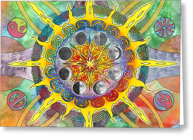 Planetary Mixed Media Greeting Cards - Celtic Stargate Greeting Card by Kristen Fox