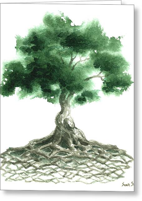 Culture Paintings Greeting Cards - Celtic Tree Of Life Greeting Card by Sean Seal