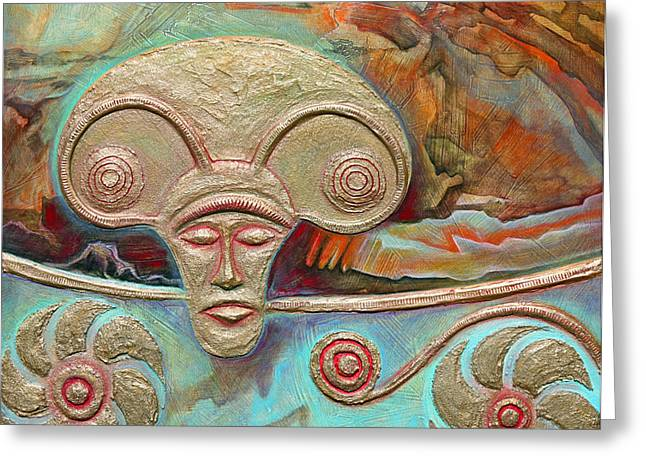 Ancient Reliefs Greeting Cards - Celtic Warrior Ritual Mask Greeting Card by Zoran Peshich