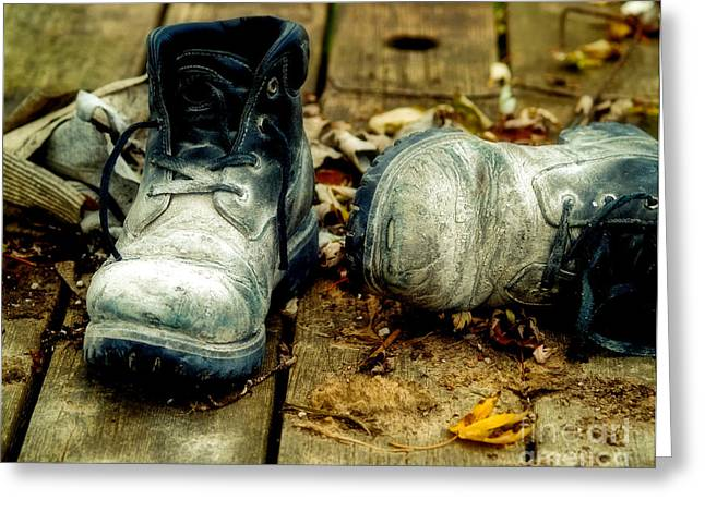 Work Boots Greeting Cards - Cement Encrusted Workboots Greeting Card by Emilio Lovisa