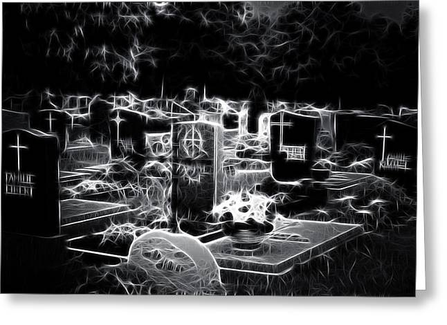 Cemetary At Night Greeting Card by Ellen Heaverlo