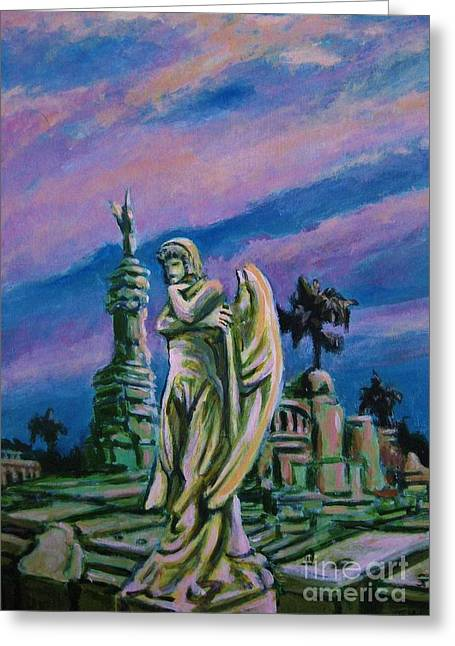 John Malone Artist Greeting Cards - Cemetary Guardian Greeting Card by John Malone