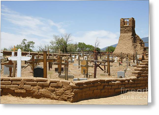 Taos Greeting Cards - Cemetery at Taos Pueblo Greeting Card by Stan and Anne Foster