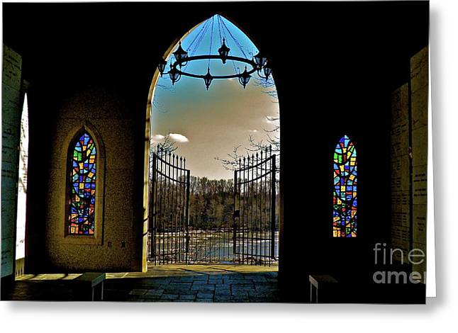 Glass Work Greeting Cards - Cemetery Chapel 2 Greeting Card by E Robert Dee