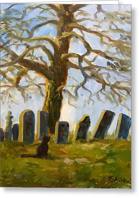 Cemetary Paintings Greeting Cards - Cemetery Road Greeting Card by Nora Sallows