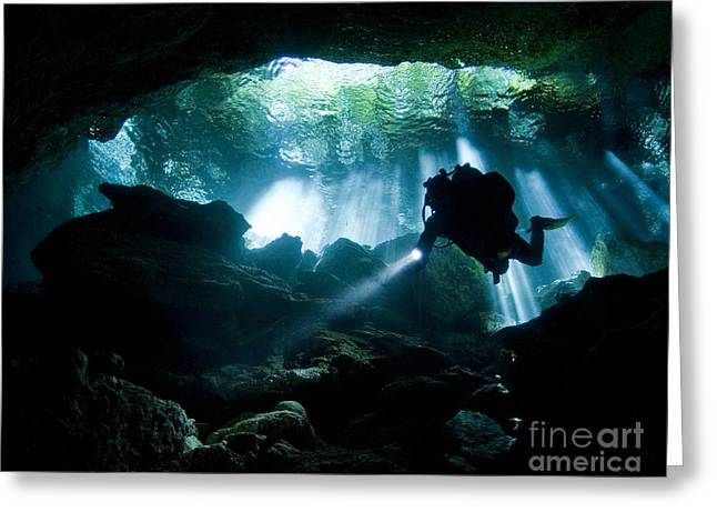 Cenote Greeting Cards - Cenote Diver Enters Taj Mahal Cavern Greeting Card by Karen Doody