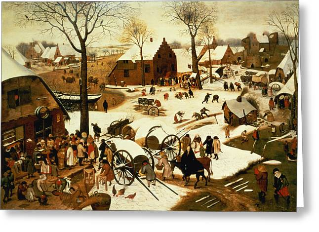 Religious Paintings Greeting Cards - Census at Bethlehem Greeting Card by Pieter the Elder Bruegel