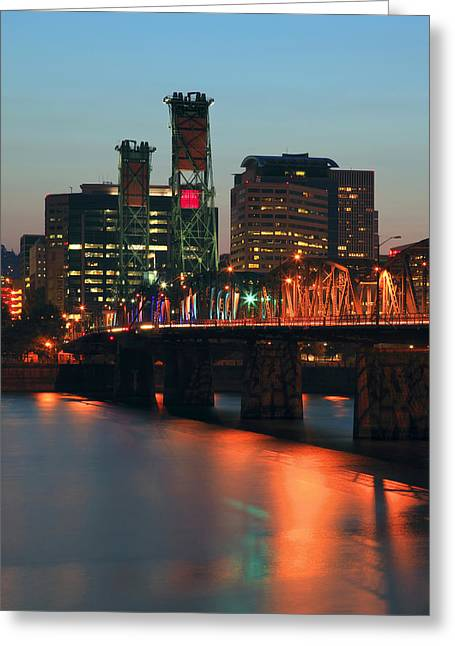 Centennial Birthday Of The Hawthorne Bridge.  Greeting Card by Gino Rigucci