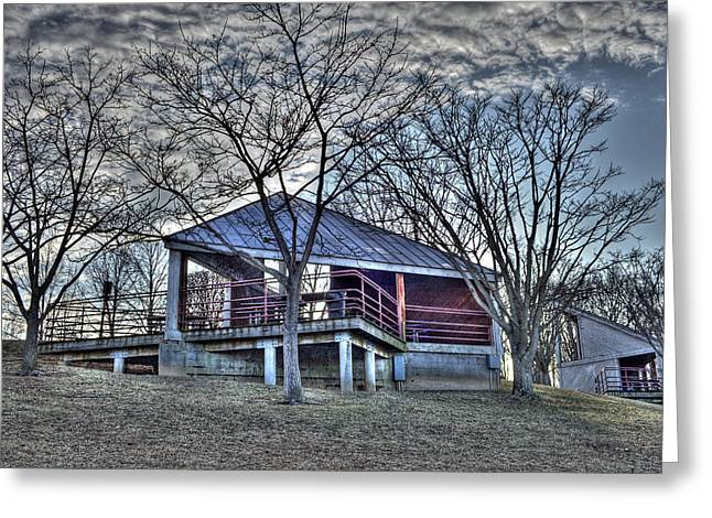 Centennial Lake Pavilion Greeting Card by Stephen Younts