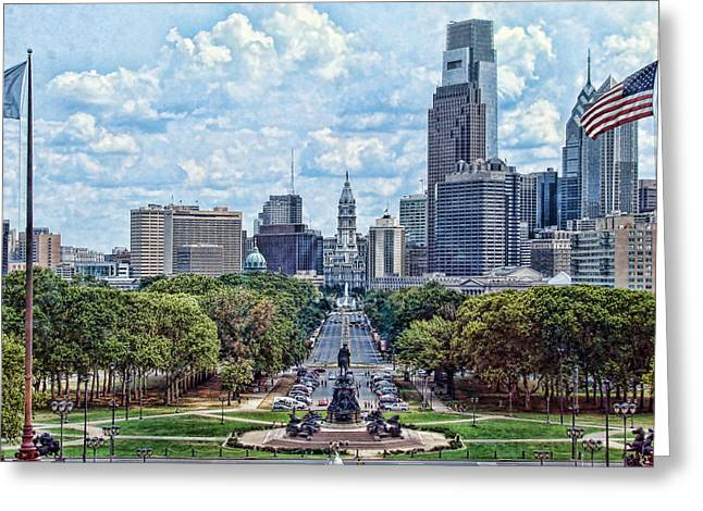 William Penn Digital Art Greeting Cards - Center City Philly Greeting Card by Kevin  Sherf