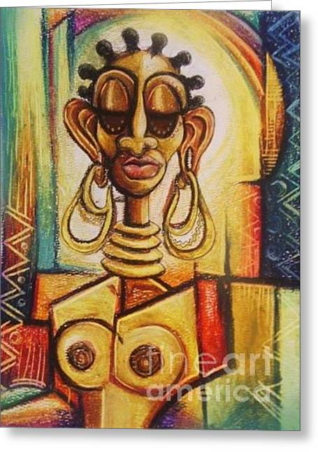 Pablo Pastels Greeting Cards - Centered queen  Greeting Card by Shahidah Matthews