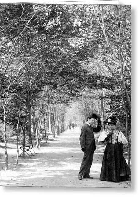 Man And Woman In Love Greeting Cards - Central Park - Lovers Lane - New York City - c 1896 Greeting Card by International  Images