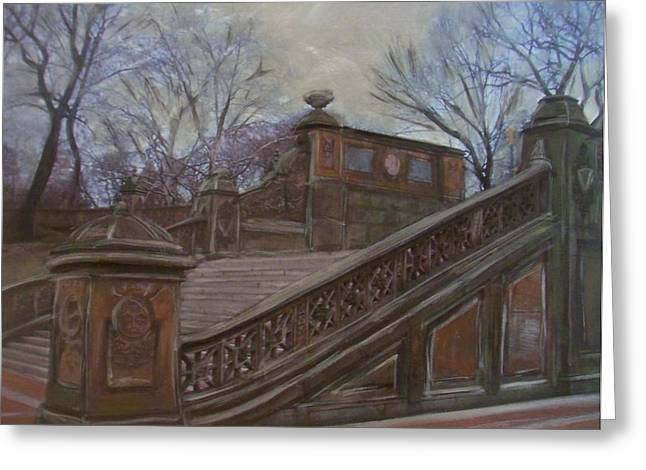 Staircase Mixed Media Greeting Cards - Central Park Bethesda Staircase Greeting Card by Anita Burgermeister