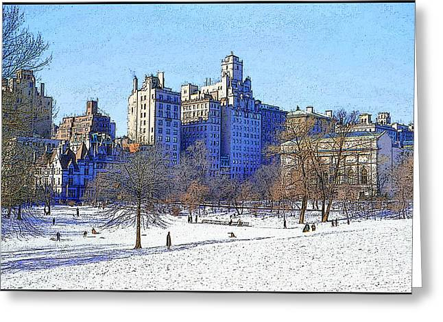 Ski Art Greeting Cards - Central Park Greeting Card by Chuck Staley