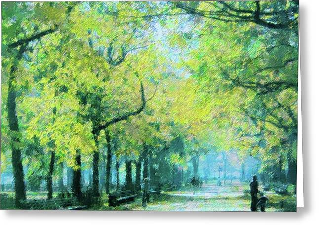 Famous Person Mixed Media Greeting Cards - Central Park Greeting Card by Florene Welebny