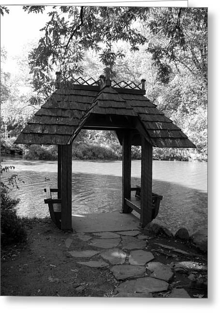 Natral Greeting Cards - CENTRAL PARK GAZEBO in BLACK AND WHITE Greeting Card by Rob Hans