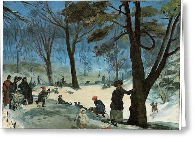Park Scene Paintings Greeting Cards - Central Park in Winter Greeting Card by William Glackens