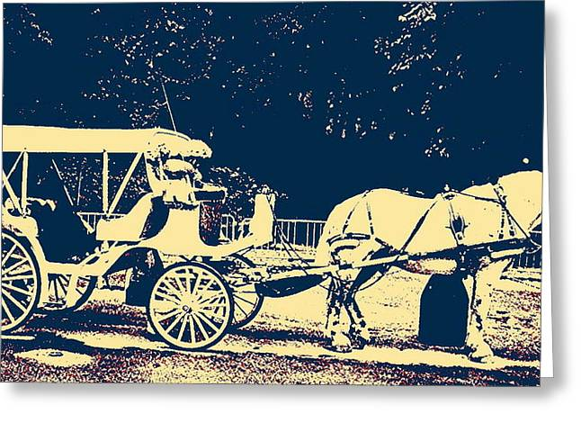 Horse And Buggy Greeting Cards - Central Park Ride Greeting Card by Marvin Blatt