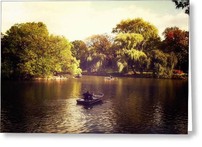 Row Boat Photographs Greeting Cards - Central Park Romance - New York City Greeting Card by Vivienne Gucwa