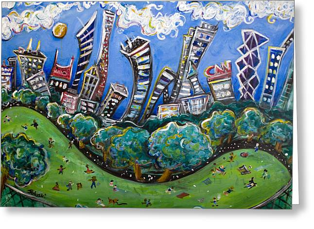 Midtown Paintings Greeting Cards - Central Park South Greeting Card by Jason Gluskin