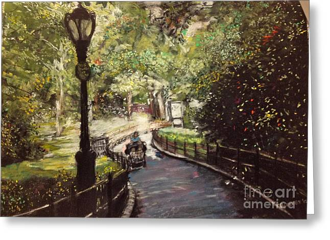 Times Square Pastels Greeting Cards - Central Park Upper East Side Greeting Card by Barry Rothstein