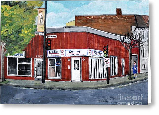 City Restaurants Greeting Cards - Centre Pizza Verdun Greeting Card by Reb Frost