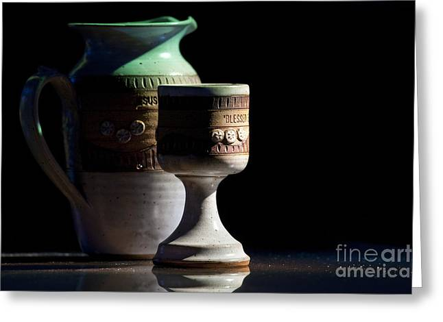 Goblet Greeting Cards - Ceramic Pitcher And Goblet Greeting Card by Will and Deni McIntyre