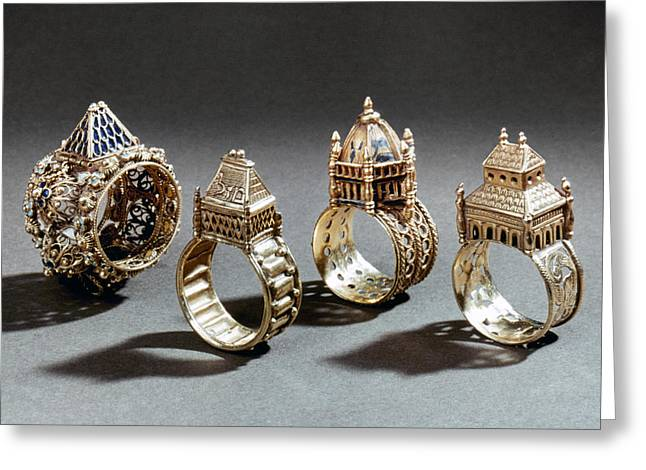 Judea Greeting Cards - Ceremonial Marriage Rings Greeting Card by Granger